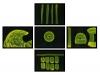 Kunstvermittlung Klement, Petra Kretzschmar, Atomic Icons (gerahmt), 5 Teile je 21x 29,7cm
