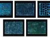 Kunstvermittlung Klement, Petra Kretzschmar, Schwarz auf Blau (gerahmt), 5 Teile je 40x50cm