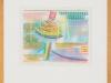 Gioffreda (?) – Pendelnder Hut, 26x31 cm, gerahmt unter Glas 60x47 cm, Frottage Buntstift auf Papier, Verkaufspreis: 250,-€