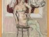 F. Scherer – Bulle mit Frau, 100x74 cm, gerahmt 105x80 cm, Mischtechnik auf Karton, Einstiegsgebot: 350,-€