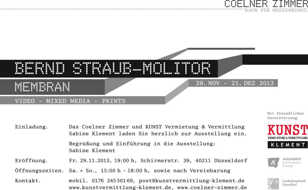 Membran, Einladung zur Ausstellung von Bernd Straub-Molitor